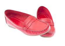 Red moccasins isolated on white background Royalty Free Stock Images