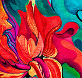 Red mod damask decorative flower oil painting on canvas, illustr Royalty Free Stock Photography