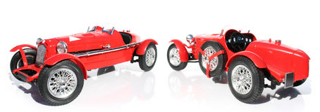 Red Model Car. Front And Rear Perspective Views Of A Replica Model Car Royalty Free Stock Photography