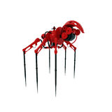 Red Model of modern spy - spider. Steampunk spider - cyborg. Isolated on white work Stock Image