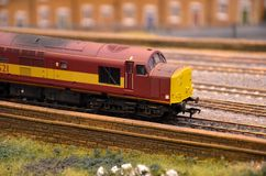 Red model train diesel electric railway engine Stock Photography