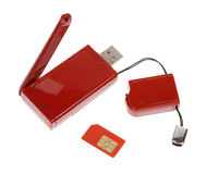 Red modem with USB cable Stock Photo