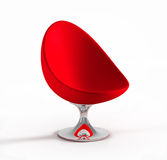 Red modern armchair. Isolated on white background Stock Photos