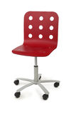 Red modern armchair with circle holes on back Stock Image