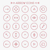Red modern arrows icons set Royalty Free Stock Photography