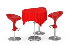 Red Modern Bar Stools with Table and Tablecloth. 3d Rendering. Red Modern Bar Stools with Table and Tablecloth on a white background. 3d Rendering Royalty Free Stock Photography