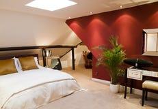 Red modern bedroom Stock Image