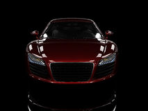Red modern car isolated on black background. Royalty Free Stock Photo