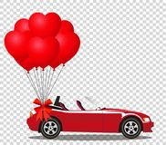 Red modern cartoon cabriolet car with bunch of red helium balloo. Red modern opened cartoon cabriolet car with bunch of red helium heart shaped balloons with Stock Images