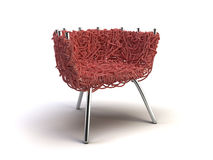 Red modern chair. On the white background Royalty Free Stock Photos