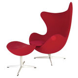 Red modern chair and footstool Royalty Free Stock Image