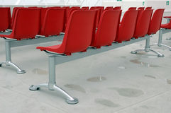 Red modern chairs outside Royalty Free Stock Images