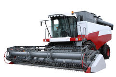 Red modern combine. Separately on a white background Stock Photography
