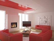 Red modern design interior Royalty Free Stock Photography