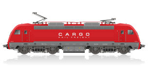 Red modern electric locomotive stock illustration