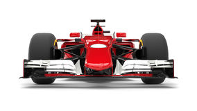Red modern formula racing car - front view closeup. Isolated on white background Stock Photo