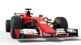 Red modern formula racing car. Front view low angle shot Stock Image