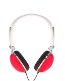 Red modern headphones isolated on white Royalty Free Stock Photos