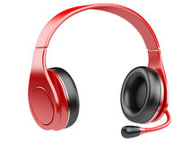 Red modern headphones with microphone Royalty Free Stock Photos