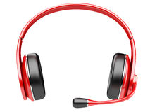 Red modern headphones with microphone Royalty Free Stock Images