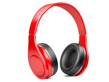Red modern headphones  on white Stock Images