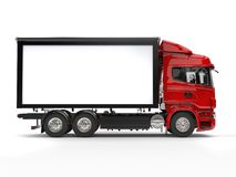 Red modern heavy transport truck - side view Stock Photography