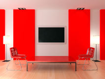 Red modern interior Stock Photos