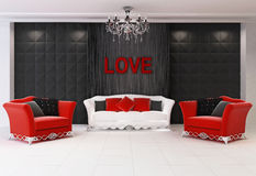 Red Modern interior with furniture, two armchairs. And comfort sofa, love Vector Illustration