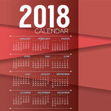 2018 Red Modern Layer Printable Calendar Starts Sunday Royalty Free Stock Photography