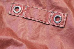 Red Modern Leather Jacket Fragment With Empty Label Stock Photography
