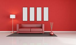 Red modern lounge Stock Photos