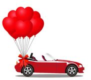 Red modern opened cabriolet car with bunch of red  balloons. Red modern opened cartoon cabriolet car with bunch of red helium heart shaped balloons with festive Royalty Free Stock Photography