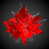 Red modern triangular shape on a black background Stock Images