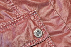 Red Modern Vintage Leather Jacket Fragment With Patch Pocket Royalty Free Stock Image
