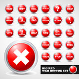 Red modern web button set Stock Images
