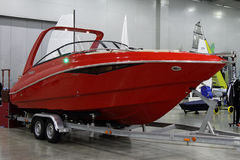 Red modern yacht in the exhibition Crocus Expo in Moscow. Royalty Free Stock Images