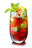 Red mojito with strawberry Royalty Free Stock Images