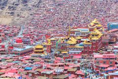 Red monastery at Larung gar Buddhist Academy. In sunshine day and background is blue sky, Sichuan, China Royalty Free Stock Images