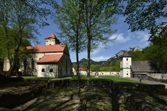 Red Monastery Museum, Spis region, Slovakia. Historical churches and courtyard with ruins of Red monastery in Spis region - Slovakia royalty free stock photo