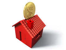 Red money box house. Illustration of a red piggy bank house with dollar coin Royalty Free Stock Photography