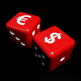 Red money dice. Fine 3d image of red and white dice and money symbol Royalty Free Stock Photos