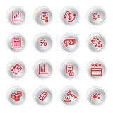 Red money icons. On grey buttons Stock Image