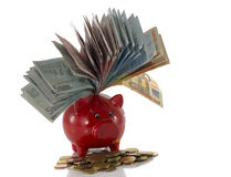 Red money pig with euros Royalty Free Stock Photos