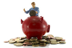 Red moneypig filled with euro coin Stock Photography
