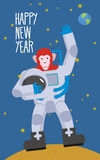 Red Monkey astronaut waving hand. Happy new year. Chimpanzees in Royalty Free Stock Photography