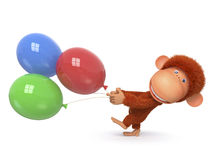 The red monkey with balloon Stock Images