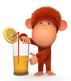 The red monkey with a cocktail Royalty Free Stock Images