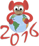Red monkey embraces the world, the symbol of 2016 Stock Image