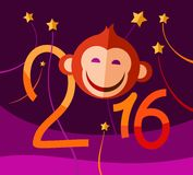 Red monkey, new year greeting card. Christmas card with red monkey. Color vector flat picture Stock Photography