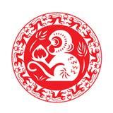 Red monkey zodiac on circle symbol (monkey holding peach) Royalty Free Stock Photos